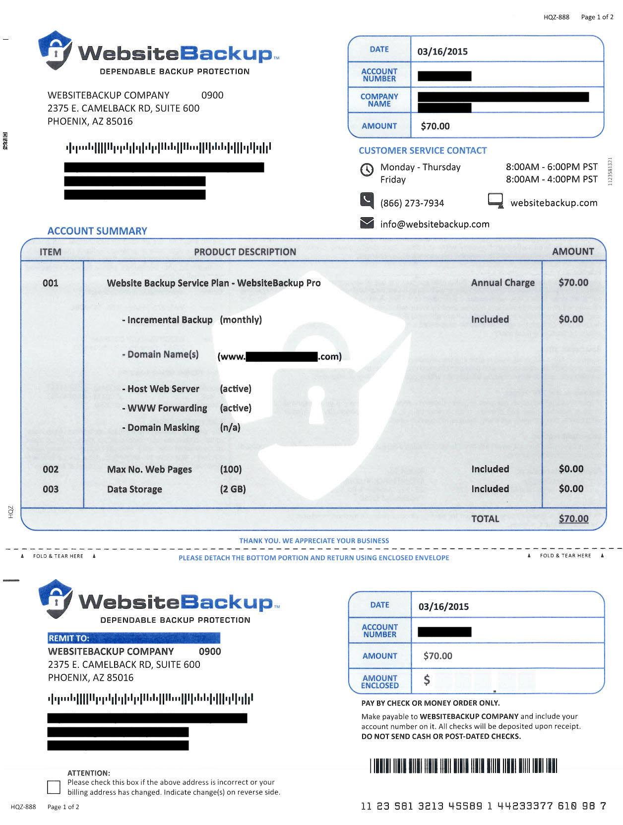 website backup invoice scam