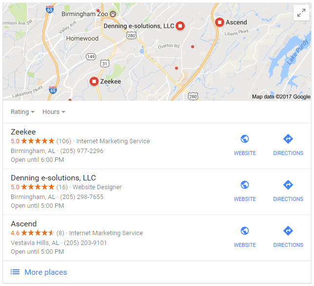 Google Reviews Screenshot of Local 3-Pack